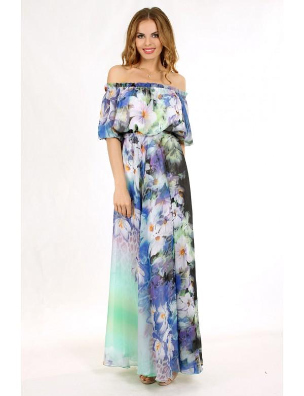 G 0851 Легкое вечерние платья из шифона с цветочным принтом