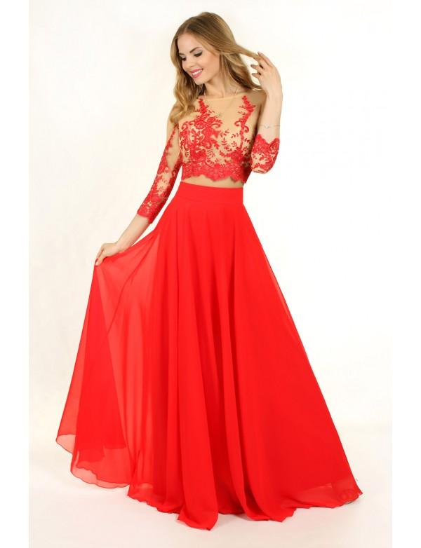 G 0849 Вечернее платье в виде гипюрового топа с длинным рукавом и юбки из шифона