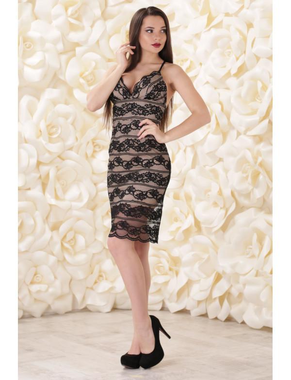 P 0789 Коктельное платье из нежнейшего гипюра и открытой спиной
