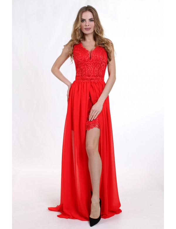 G 2073 Вечернее платье-трансформер в виде гипюрового футляра и съемной шифоновой юбки