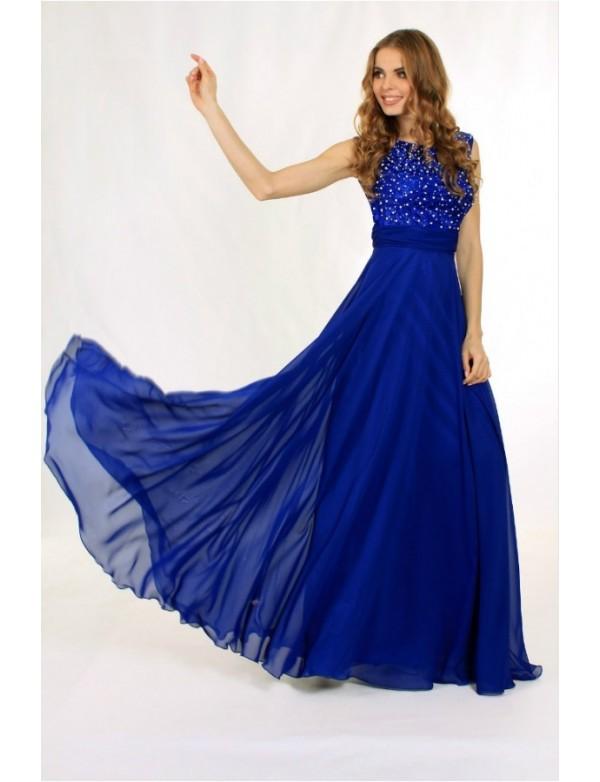 Платье вечернее с гипюровым лифом расшитым жемчугом