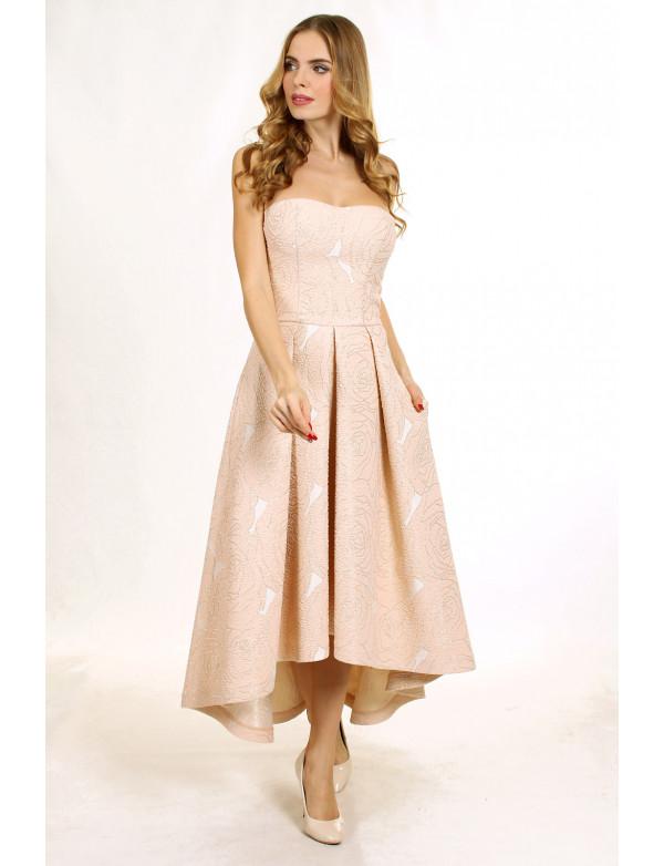 G 2088 Платье вечернее из жаккарда с асимметричным низом