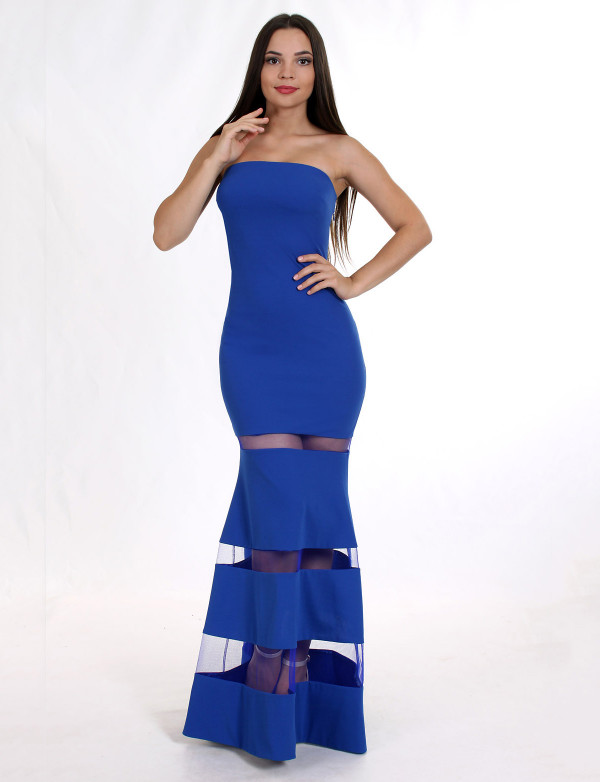 G 2075 A Вечернее платье на юбке вставки из сетки