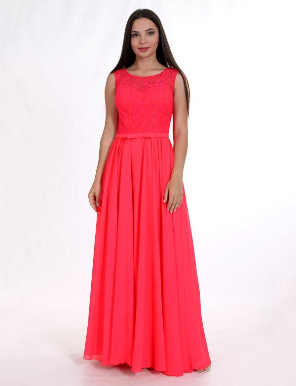G 2043 Вечернее платье с легкой шифоновой юбкой и гипюровым верхом