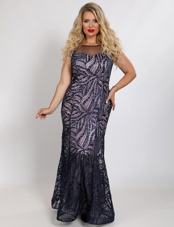 G 2357 Платье вечернее из гипюра в пайетку