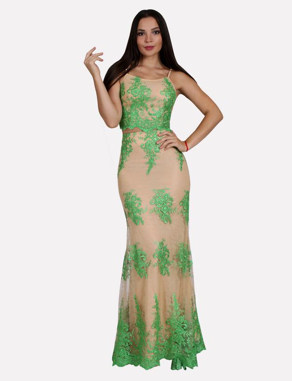 G 0829 Вечернее платье в виде топа на тонкихбретелях и юбки
