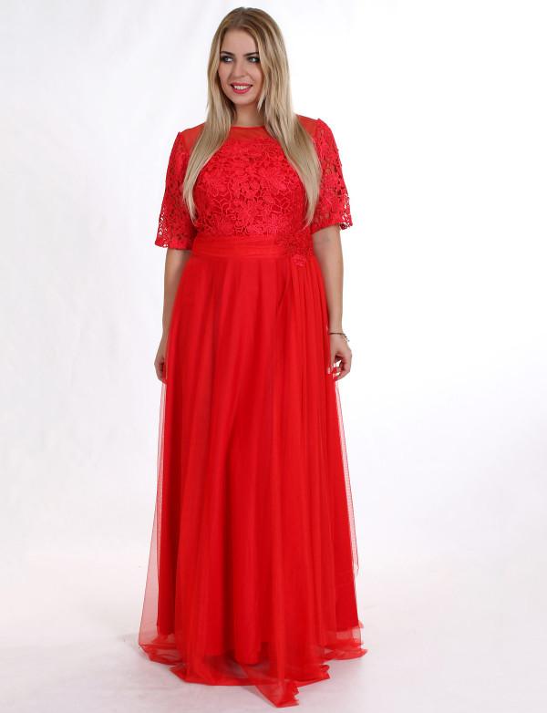 G 2109 Платье вечернее из кружевного верха и евросетки