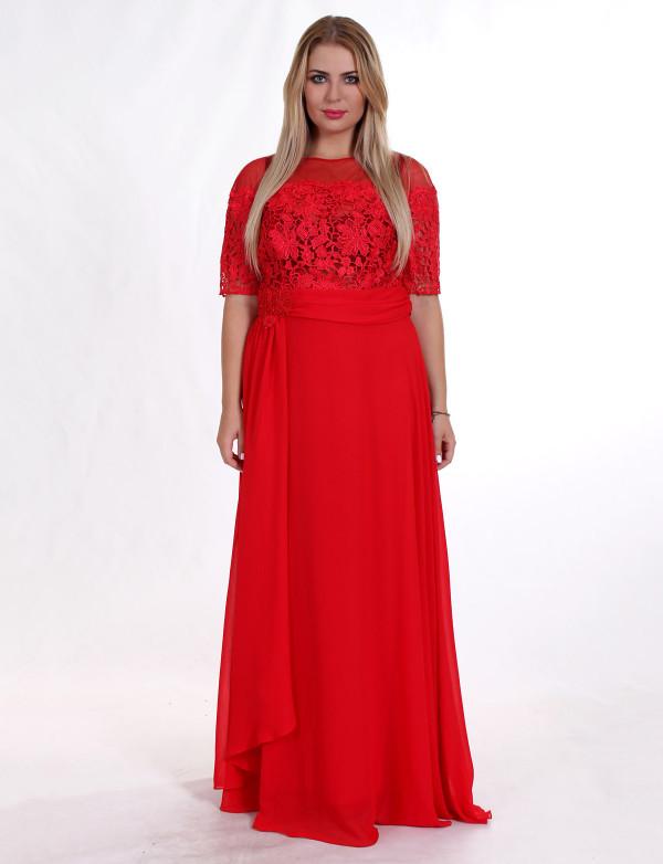 G 2110 Платье вечернее из кружевного верха и шифона