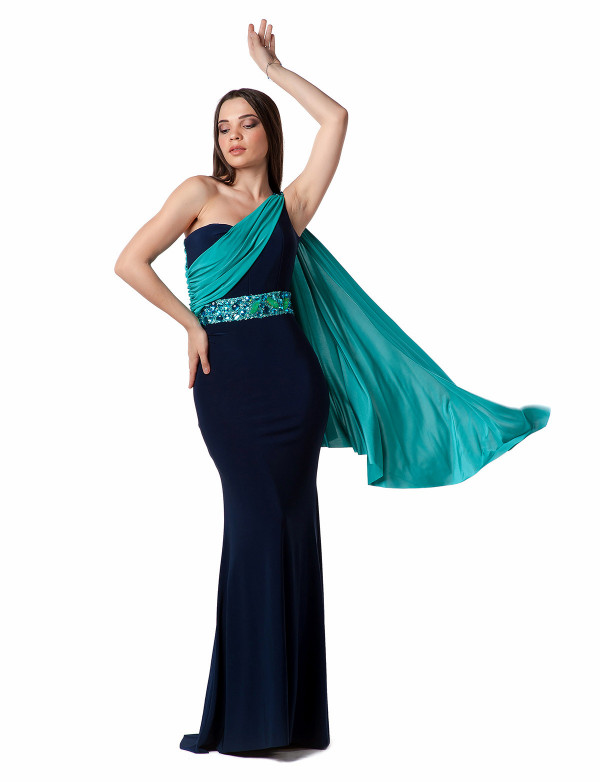 G 0619 Платье вечернее асимметричное в греческом стиле