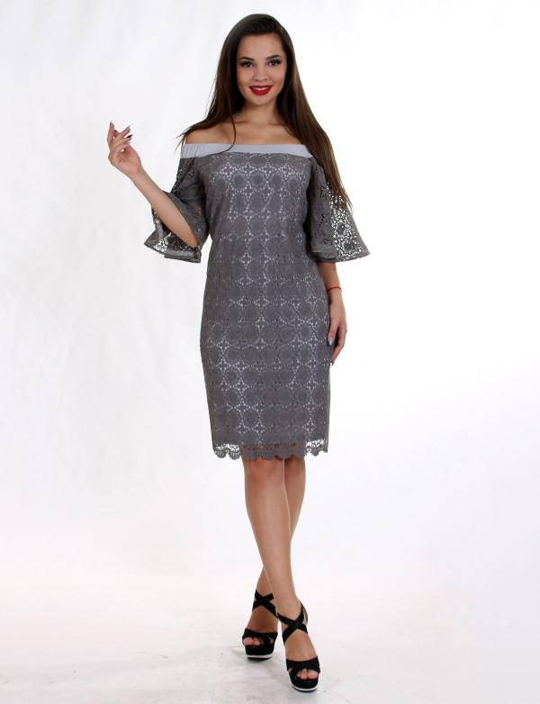 P 0018 Платье коктейльное с рукавами-воланами