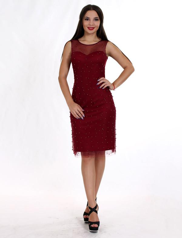 P 0880 Платье коктейльное с россіпью жемчуга