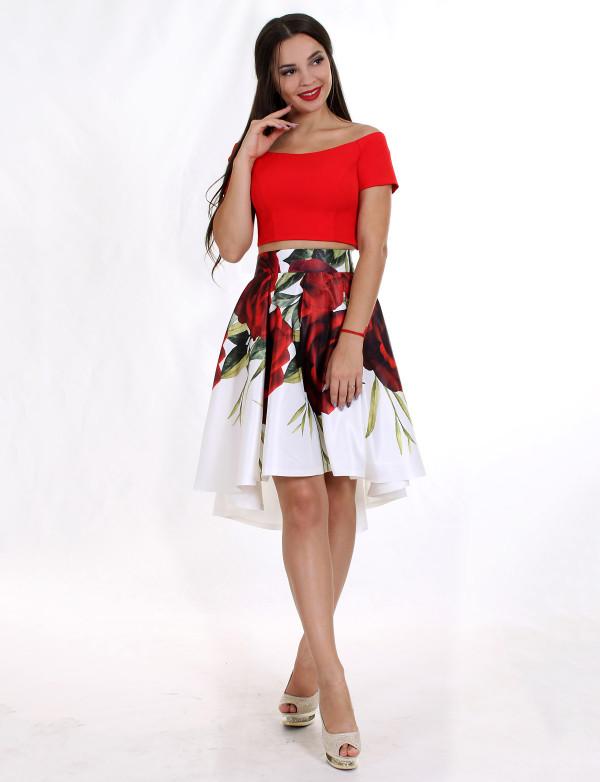 P 0890 Платье коктейльное в виде топа и юбки с принтом