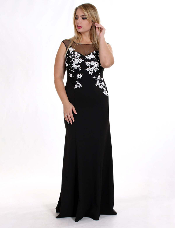 OG 2052 Платье вечернее с цветочной вышивкой