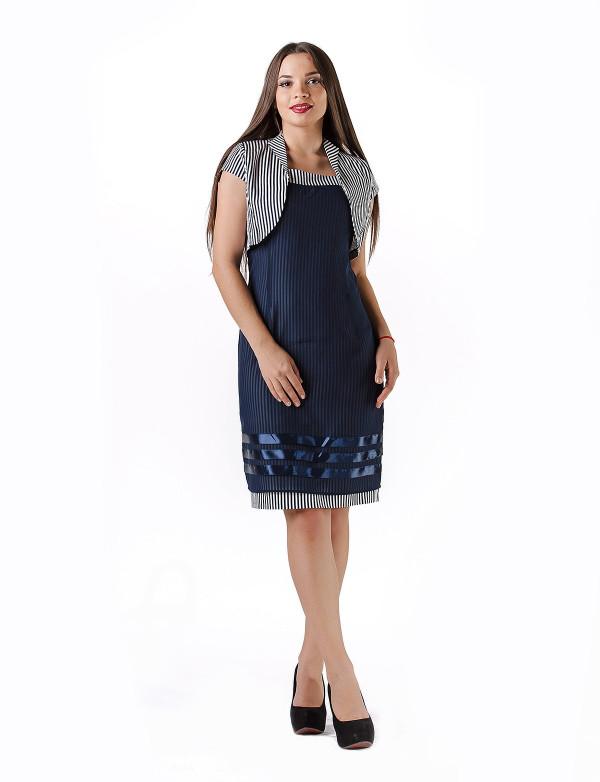 P 0878 Платье коктейльное в виде футляра и болеро