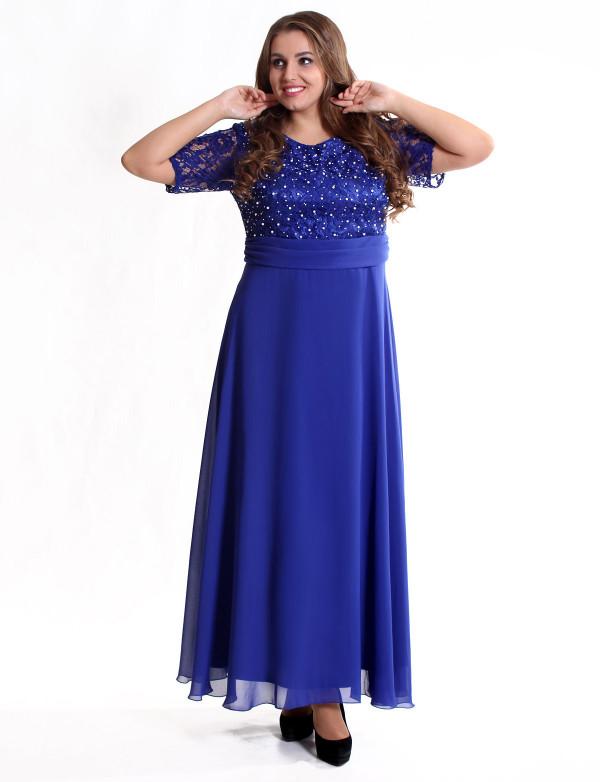 Платье вечернее в большом размере с гипюровым лифом