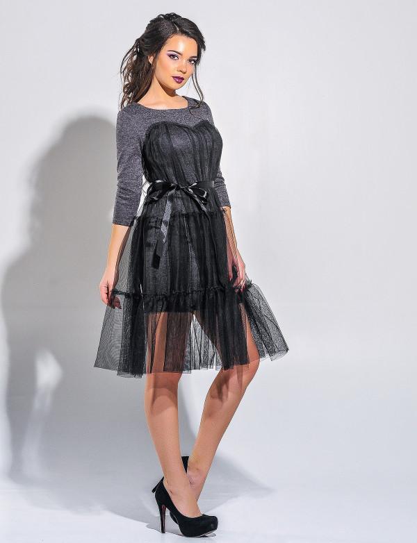 P 0028 Платье коктейльное из ангоры с сеткой