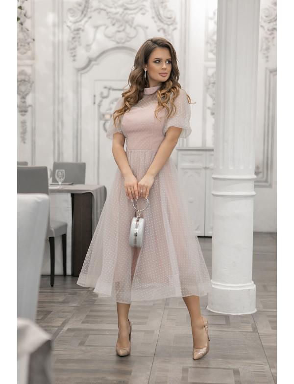 "G 2353 Платье из евросетки в бархатную мелкую ""мушку"""