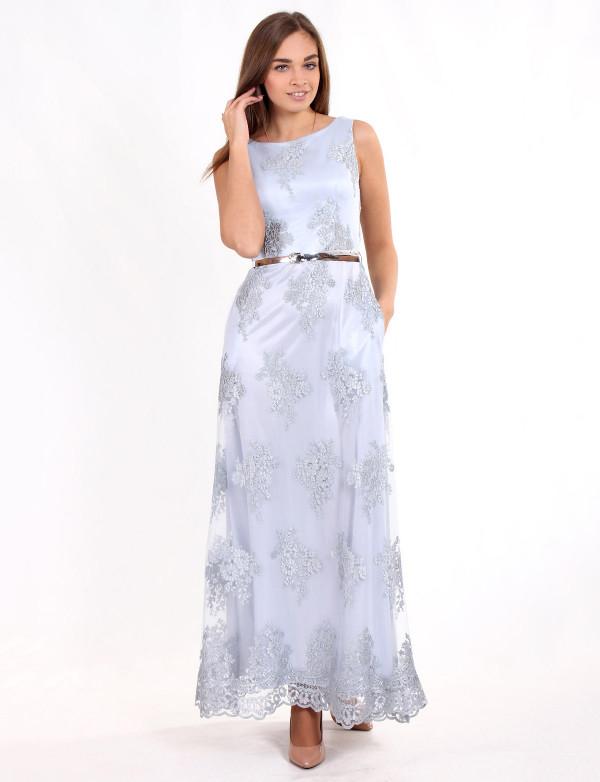 G 2118 Платье вечернее с золотым поясом