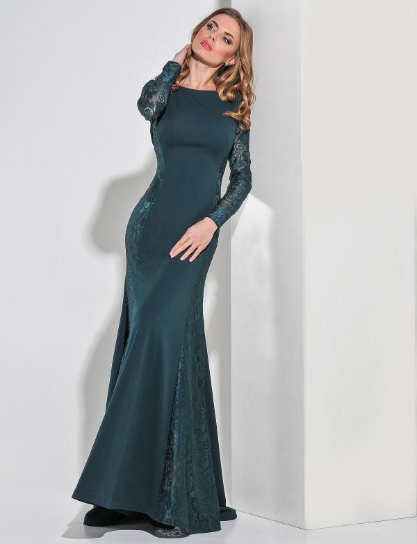 G 2161 Платье вечернее с просветом из гипюра по бокам