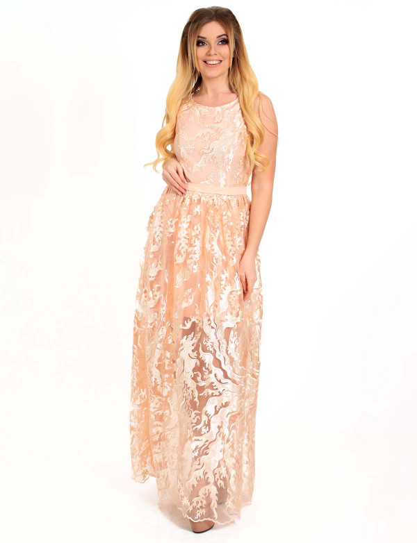 G 2178 Платье вечернее из гипюра-пламя