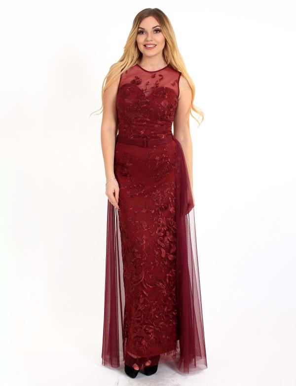 G 3028 Платье вечернее со съемной юбкой из сетки