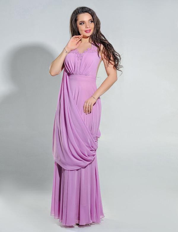 G 2213 Платье вечернее с ручной вышивкой и шлейфом