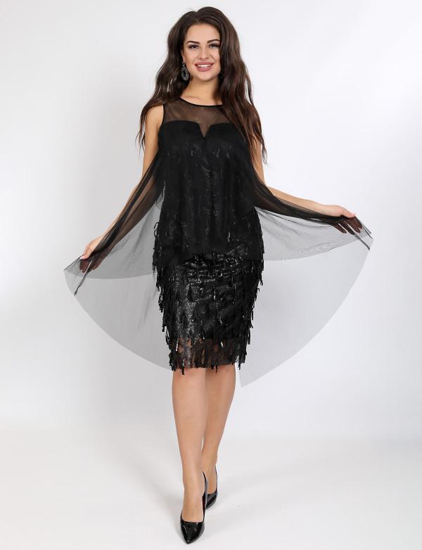 P 1046 Платье коктейльное с имитацией накидки из сетки
