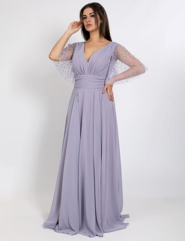 G 2316 Платье вечернее с россыпью жемчуга на рукавах