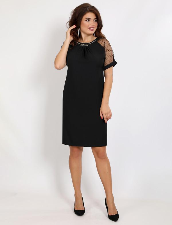 P 2033 Платье коктейльное прямого кроя с декоративной вышивкой камнями