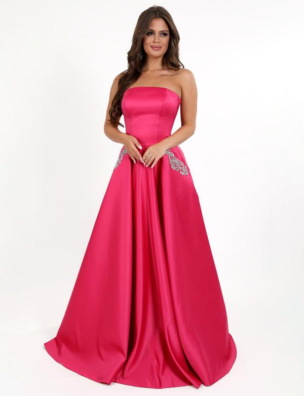 G 3023 Платье вечернее на корсете из атласа с вышитыми карманами