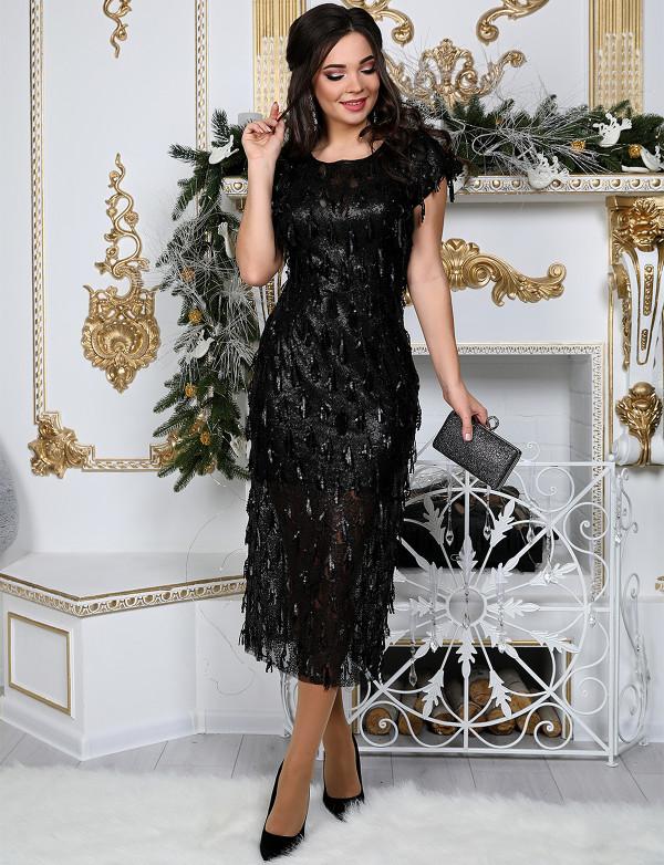 G 2315 Платье вечернее из пайетки в виде бахромы