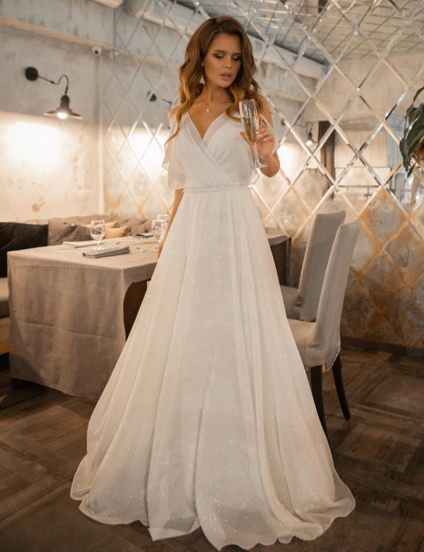 G 3188 1 Платье вечернее из шифона с глиттерным напылением