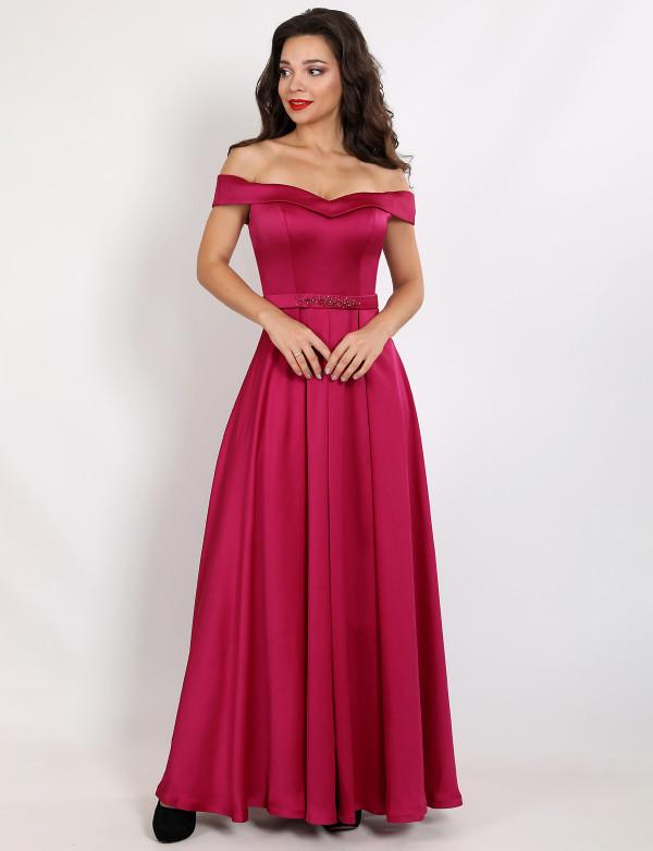 G 2355 A Платье вечернее из мягкого атласа с расшитым поясом