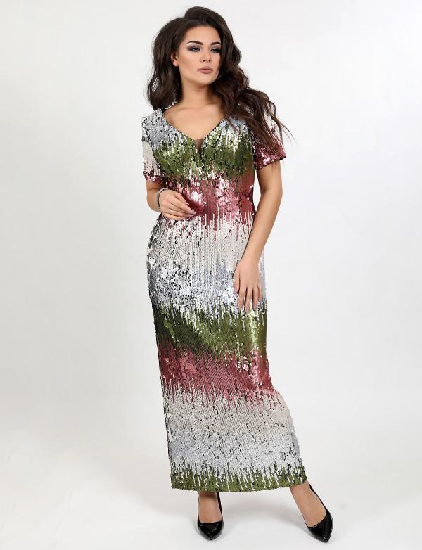 G 3113 Платье вечернее из пайеток с разрезом