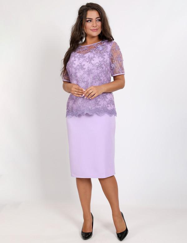 P 0993 A Платье коктейльное с гипюровой имитацией накидки