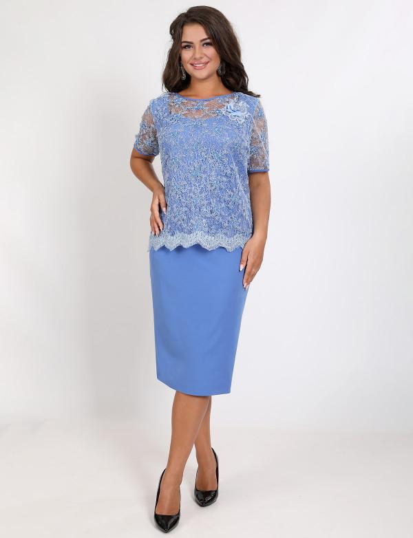 P 0993 Платье коктейльное с гипюровой имитацией накидки