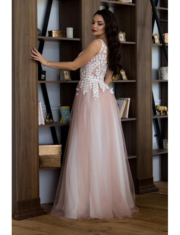 G 2309 Платье вечернее с 3D-лепестками вышитыми вручную из нескольких слоев легкой сетки