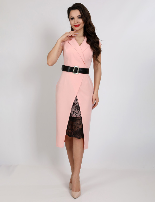 G 2343 Платье деловое с гипюровой вставкой и поясом из экокожи