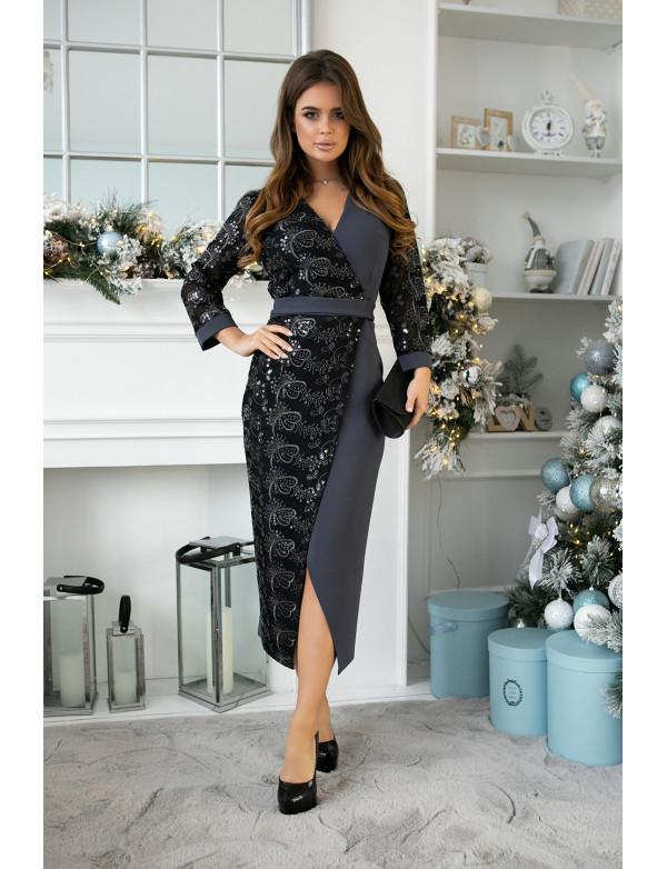 G 2379 Платье вечернее на запах в виде комбинациии гипюра с пайеткой и трикотажа