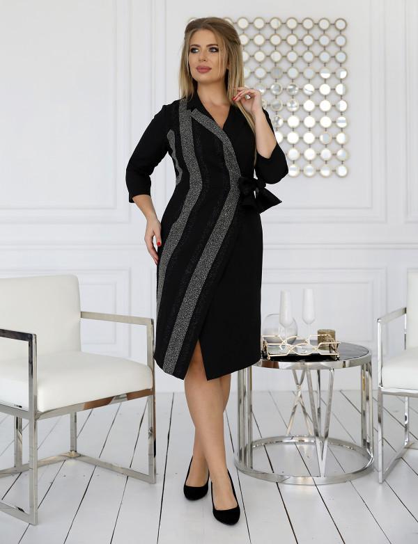 P 1070 Платье коктейльное со вставками из блестящего трикотажа