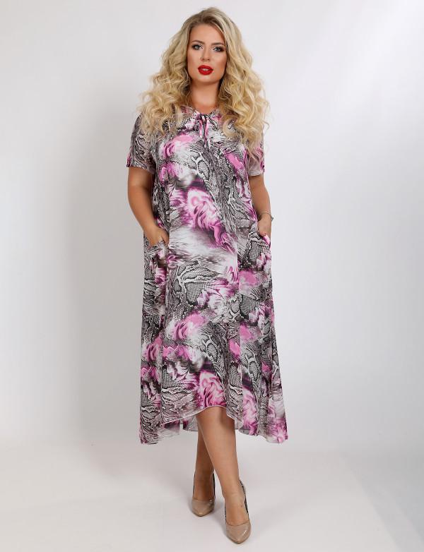 G 2338 Платье-двойка с капюшоном и ярким принтом