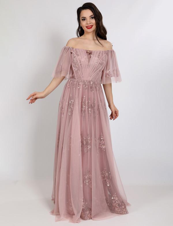 G 2328 Платье вечернее с узором из пайеток на сетке