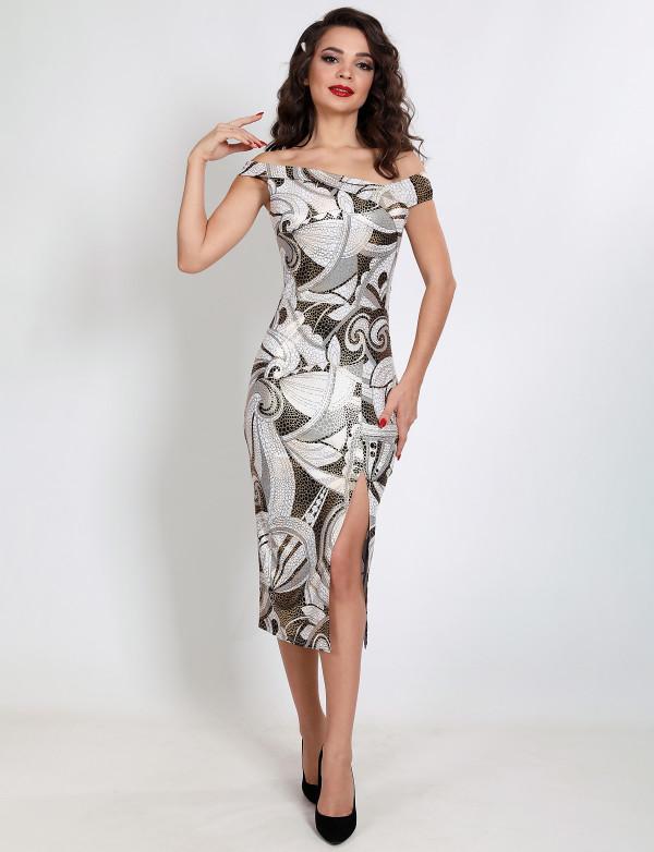 G 3179 Платье коктейльное с принтом