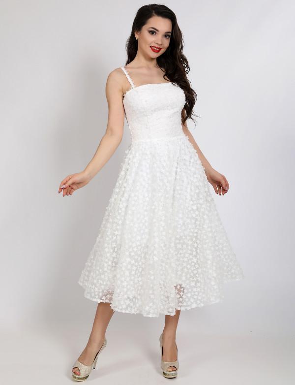 G 3108 Платье вечернее на бретелях с 3D-цветами на сетке