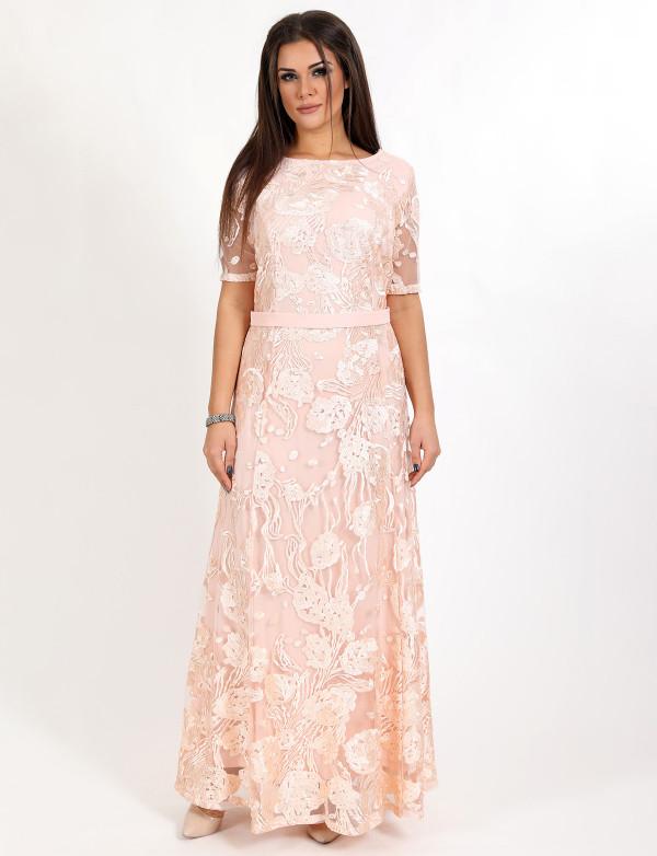 G 2296 AB Платье вечернее гипюровое с юбкой годе