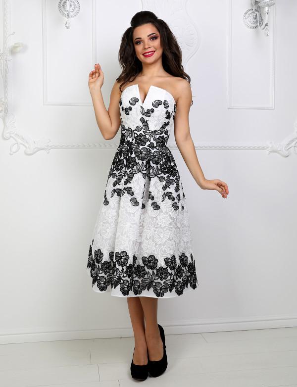 P 1042 Платье коктейльное с корсетом на спинке и V-образным вырезом