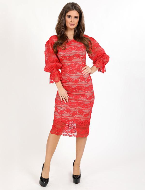 P 1033 Платье коктейльное с рукавами-фонариками