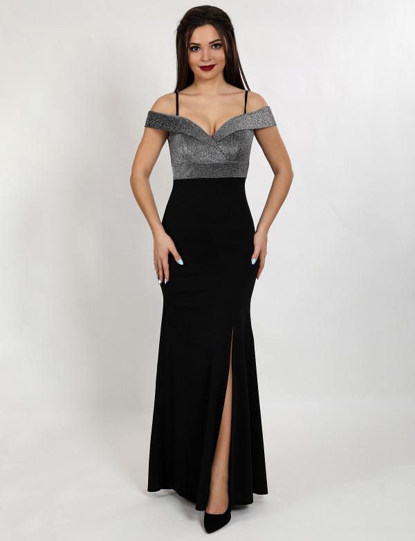 G 2218 Платье вечернее с люриксовой горловиной