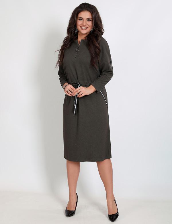 P 2053 Платье повседневное с регулируемым поясом