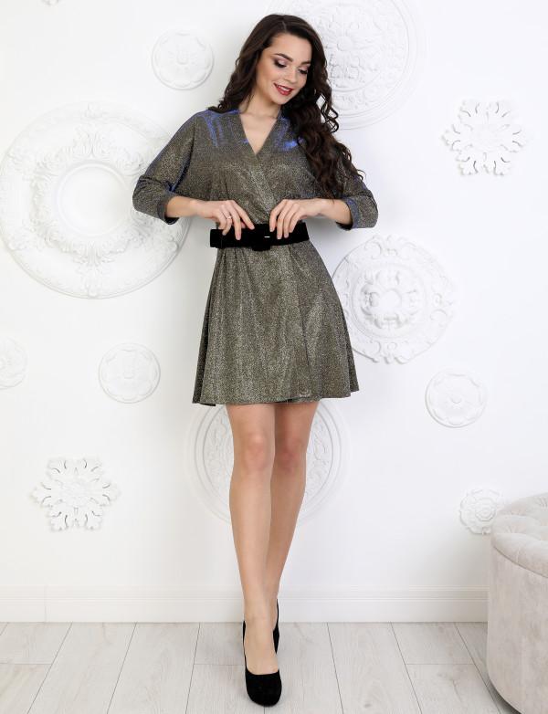 P 1096 Платье коктейльное из люриксового трикотажа с широким поясом